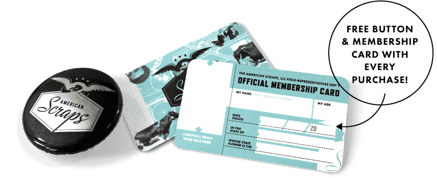 The American Scraps Button and Membership Card